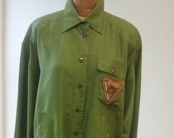 "1980's, 48""chest, 2 piece olive green silk "" safari"" suit"