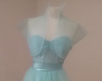 "1950's,  34"" bust, ""baby"" blue net prom gown,"