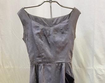 "1950s, 32"" bust, mauve satin embossed semi formal dress"