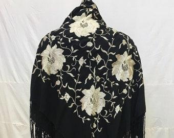 "1920s, 51""×51"",  silk shawl"