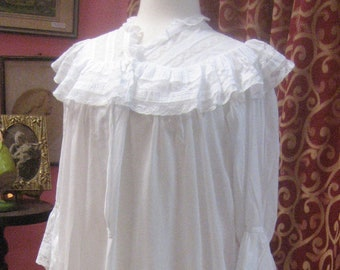 "1890's, 36"" bust, white batiste cotton floor length night gown."