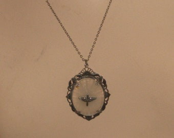 "1920's, 19"" long silver metal chain,  with a 2"" long pendant of French Glass,"