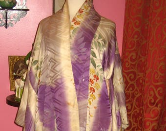 "Early 1900's , 46"" chest,  full length Japanese traditional kimono."