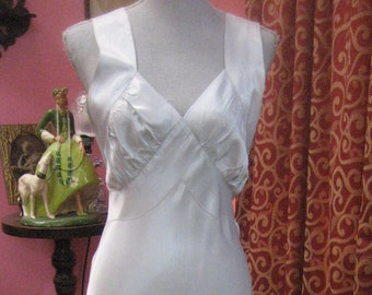 "1940's, 36"" bust, ice blue rayon satin full length bias cut nightgown."