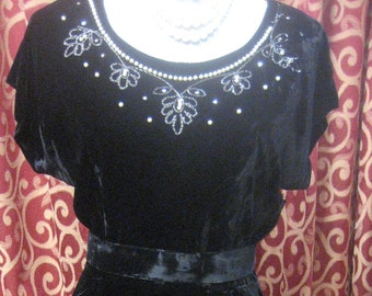 "1950's, 34"" bust, black velvet sheath dress"