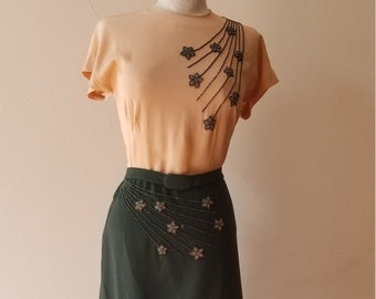 """1940s, 38""""bust, two toned dress , tan rayon crepe top, forest green wool bottom."""