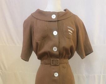 """1950s, 38"""" bust, tan linen dress"""