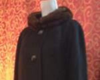 "1960's, 42"" bust, narrow black cashmere coat."