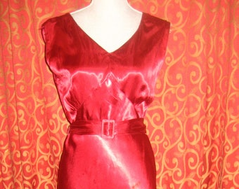 "1930's, 38"" bust,  cranberry  red rayon satin bias cut nightgown."