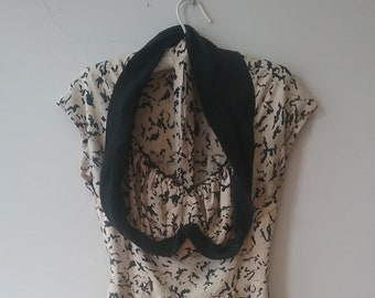 "1950's, 36"" bust, ecru silk dress with black squiggles throughout print"