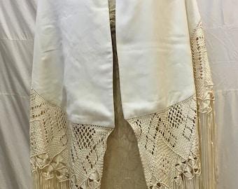 "1980s, 29""×69"" long white wool gabardine shawl"
