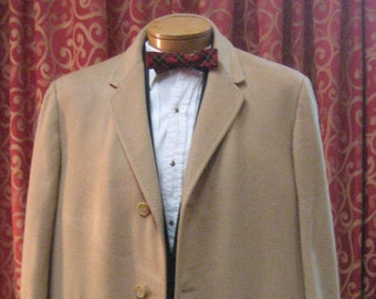 "1950's, 48"" chest, camel color pure cashmere man's dress coat"