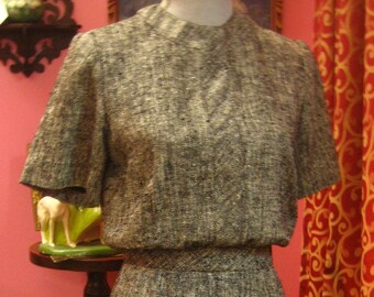 "1960's, 36"" bust, gray, black, and white herringbone cotton tweed dress"