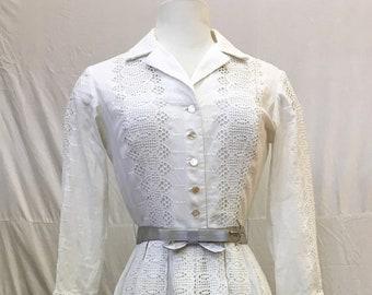 "1950s, 34"" bust, white cotton eyelet dress"