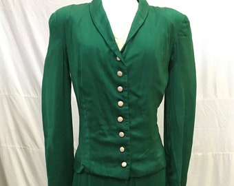 """1940s, 34"""" bust, suit dress of green gabardine and peach colored silk"""