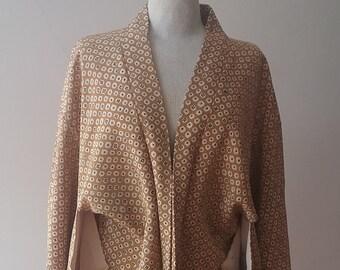"""Japanese short kimono (yakata) 40""""chest pure silk crepe."""