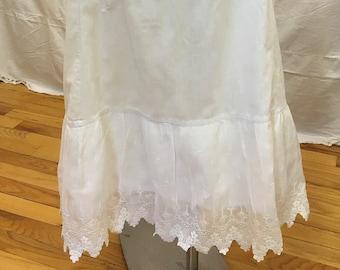 1890s, one size drawer string full length linen petticoat.