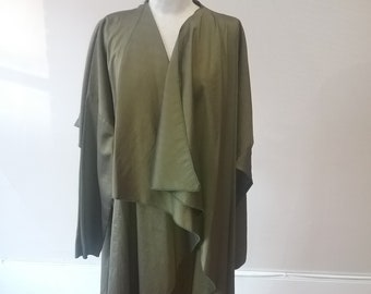 "1990's, 60"" chest, olive green nylon fold coat."