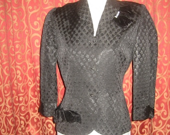 "1950's, 36"" bust, black embossed rayon Jacket"