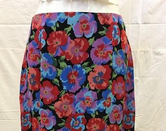 """1990s, 30"""" waist, rayon floral printed skirt"""