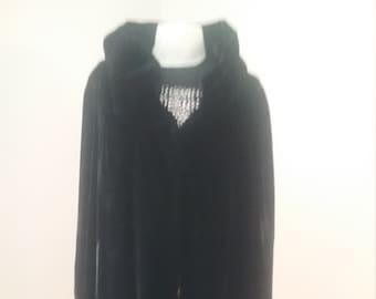 """1950's, 42"""" bust, black silk velvet 3/4  length evening coat"""