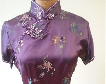 "1980's, 36"" bust, purple satin brocade Chinese full length dress"