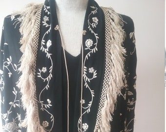 "1920's, 60"" across chest, hand embroidered white flowers on black silk crepe shawl"