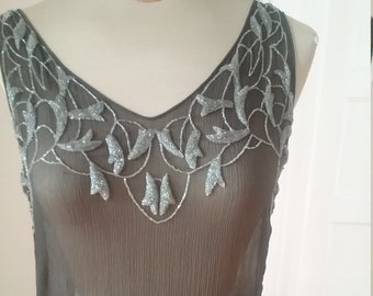 1930's, black sleeveless silk chiffon  gown