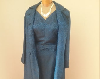 "1960's, 34""bust, 2 piece royal blue embossed gown and coat with black lace print."