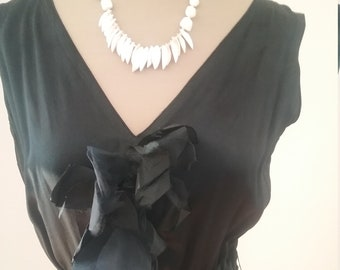 "1930's, 36""bust, black pure silk satin, bias cut gown,"