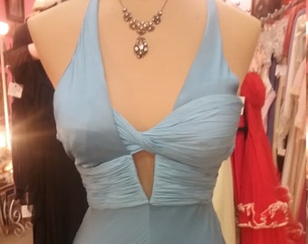 """Versace 1990's, 36""""bust, periwinkle blue pure silk satin gown"""