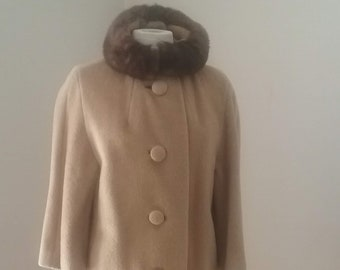 "1960s, 38"" bust, cafe au lait  mohair coat with round mink collar."