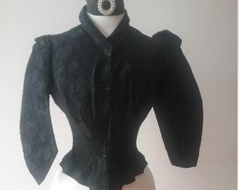 """1880's, 34""""bust. Black silk brocade cuirass top"""