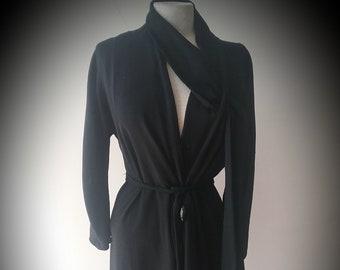 "1930's, 40"" bust, black coat/Dress of black wool crepe"