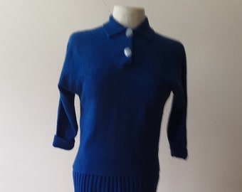 "1950s, 36"" bust, 2 piece, royal blue Italian knit outfit."