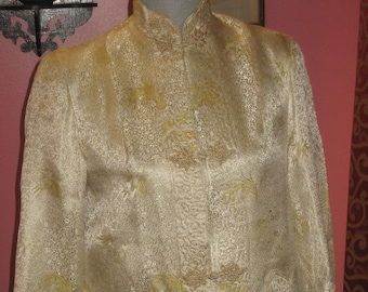 """1950's, 36"""" bust, ecru and gold brocade Chinese inspired coat"""