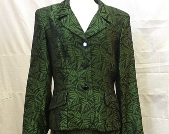 """1980s, 36"""" bust, green and black brocade suit."""