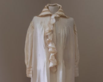 "1890s, 56"" chest, full length scrub pure silk nightdress"