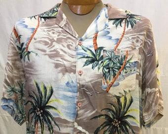 "1950s, 46"" chest, rayon Hawaiian shirt"