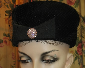 "1960's, 22"" inside of hat, black velvet pill box hat"