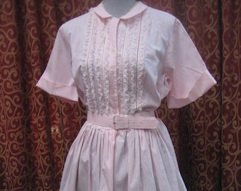 """1950's, 40"""" bust, pink and white cotton striped shirt dress."""