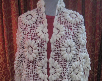 "1950's, 66""x28"", triangular off white hand crocheted shawl"