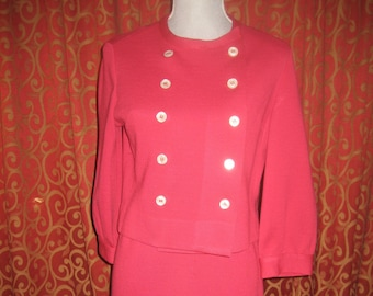 "1960's, 36"" bust, 28"" waist, rose red wool knit suit"