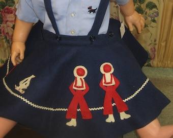 "1950's, 20"" waist, 4-5 year old, navy blue felt circle skirt."