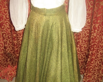 "1950's, 26"" waist, yellow/green felt circle with black flecks"