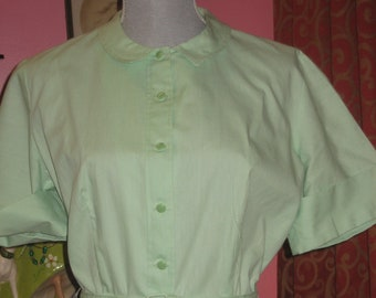 "1950's, 40"" bust, mint green cotton shirt waist dress,"