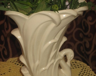 "1940's, 10"" tall white ceramic McCoy vase"