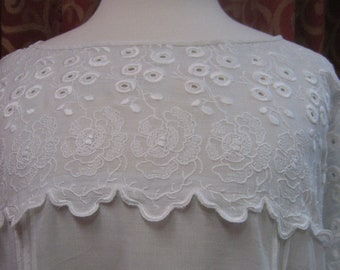 """1920's, 40"""" bust, batiste cotton dress with small scooped neckline and raglan sleeves"""