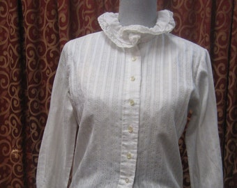 "1960's, 36"" bust, white cotton eyelet  blouse"