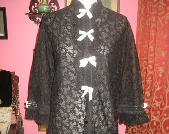 "1960's,  34"" bust, black lace negligee coat"